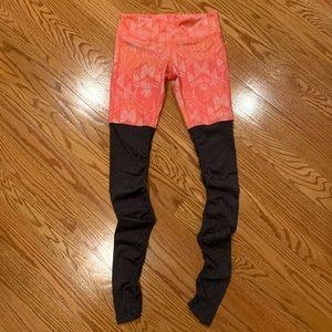 ALO Yoga Goddess leggings, orange/grey, size S